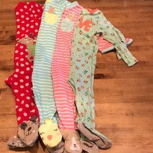 Bundle of Footie Pajamas 12 months